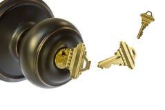 Botão e chaves de porta fotografia de stock royalty free