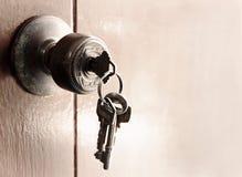 Botão e porta-chaves de porta na porta de madeira velha imagem de stock royalty free