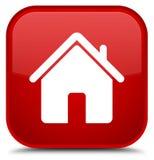 Botão especial do quadrado vermelho do ícone home Imagem de Stock Royalty Free