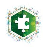 Botão floral do hexágono do verde do teste padrão das plantas do ícone do enigma ilustração do vetor