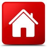 Botão home do quadrado vermelho do ícone Imagem de Stock