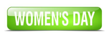 botão isolado realístico da Web do verde 3d do dia do ` s das mulheres ilustração royalty free
