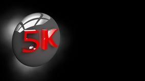 Botão 5K na ilustração 3D Fotos de Stock