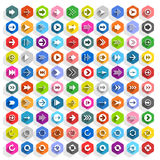 Botão liso da Web do hexágono do ícone da seta Fotos de Stock Royalty Free