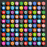 Botão liso da Web do hexágono do ícone da seta Imagens de Stock Royalty Free