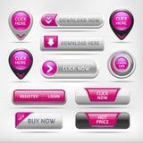 Botão lustroso cor-de-rosa dos elementos da Web. ilustração do vetor