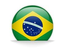 Botão lustroso da bandeira de Brasil Fotos de Stock Royalty Free