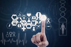 Botão médico moderno da pressão de mão Fotografia de Stock Royalty Free