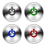 Botão metálico do poder Fotos de Stock