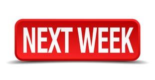 Botão na próxima semana vermelho do quadrado 3d Fotografia de Stock
