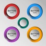 Botão preto e branco ajustado circularmente e botões quadrados Fotos de Stock
