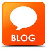 Botão quadrado alaranjado do blogue (ícone da conversação) ilustração stock