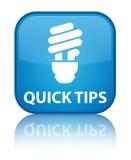 Botão quadrado azul ciano especial rápido das pontas (ícone do bulbo) ilustração royalty free
