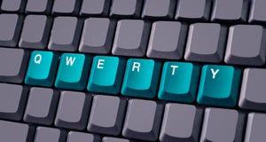 Botão QWERTY verde no teclado Fotografia de Stock Royalty Free