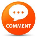 Botão redondo alaranjado do comentário (ícone da conversação) ilustração stock