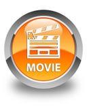 Botão redondo alaranjado lustroso do filme (ícone do grampo do cinema) Fotografia de Stock Royalty Free