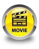 Botão redondo amarelo lustroso do filme (ícone do grampo do cinema) Imagens de Stock Royalty Free