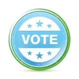 Botão redondo azul ciano do aqua natural do ícone do crachá do voto ilustração stock
