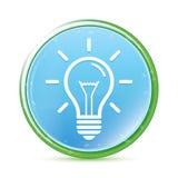 Botão redondo azul ciano do aqua natural do ícone da ampola ilustração royalty free