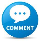 Botão redondo azul ciano do comentário (ícone da conversação) ilustração stock