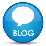 Botão redondo azul ciano especial do blogue (ícone da conversação) ilustração stock