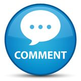 Botão redondo azul ciano especial do comentário (ícone da conversação) ilustração royalty free