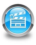 Botão redondo azul ciano lustroso do ícone do grampo do cinema Imagem de Stock Royalty Free
