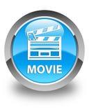 Botão redondo azul ciano lustroso do filme (ícone do grampo do cinema) Fotos de Stock