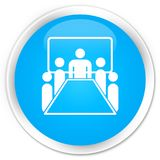Botão redondo azul ciano superior do ícone da sala de reunião Imagem de Stock Royalty Free