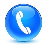 Botão redondo azul ciano vítreo do ícone do telefone ilustração royalty free