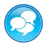 Botão redondo azul floral do ícone da conversação ilustração do vetor