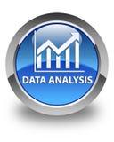 Botão redondo azul lustroso da análise de dados (ícone das estatísticas) Fotos de Stock