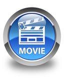Botão redondo azul lustroso do filme (ícone do grampo do cinema) Fotos de Stock Royalty Free