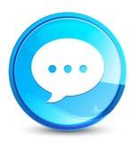 Botão redondo azul natural do respingo do ícone da conversação ilustração royalty free