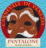 Botão redondo com máscara de Pantalone e fita para o carnaval de Veneza, ilustração do vetor Imagem de Stock