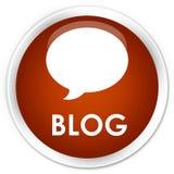 Botão redondo marrom superior do blogue (ícone da conversação) ilustração stock
