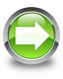 Botão redondo verde lustroso do ícone seguinte da seta Fotografia de Stock Royalty Free
