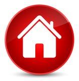 Botão redondo vermelho elegante do ícone home Imagem de Stock Royalty Free