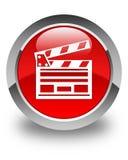 Botão redondo vermelho lustroso do ícone do grampo do cinema Imagem de Stock Royalty Free