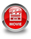 Botão redondo vermelho lustroso do filme (ícone do grampo do cinema) Foto de Stock