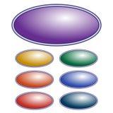 Botão roxo da elipse do vetor Jogo de teclas coloridas diferentes Fotos de Stock Royalty Free