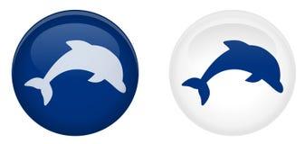 Botão simples do golfinho Símbolo de salto dos peixes no círculo Azul e w Fotografia de Stock