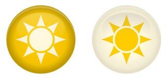 Botão simples do sol Redondo com símbolo dos raios no círculo Amarelo e Foto de Stock Royalty Free
