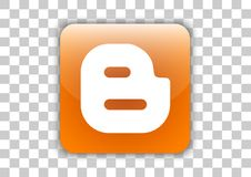 Botão social do ícone dos meios do Blogger com símbolo para dentro ilustração stock