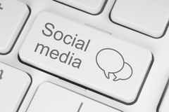 Botão social do teclado dos meios Foto de Stock