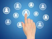 Botão social virtual dos meios da pressão de mão Imagem de Stock