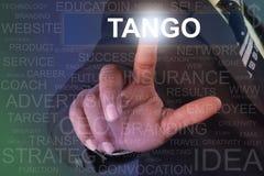 Botão tocante do tango do homem de negócios na tela virtual Fotografia de Stock