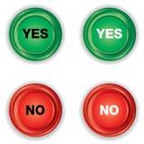 Botão verde e vermelho com YES ou NÃO no fundo branco Imagem de Stock