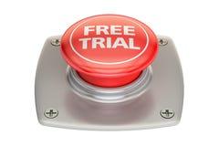 Botão vermelho da versão de avaliação gratuita, rendição 3D Fotos de Stock