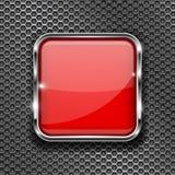 Botão vermelho do vidro 3d com quadro do metal em fundo perfurado Fotos de Stock Royalty Free